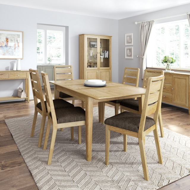 Kenwood - 120cm Compact Extending Dining Table With 4 Ladder Back Dining Chairs