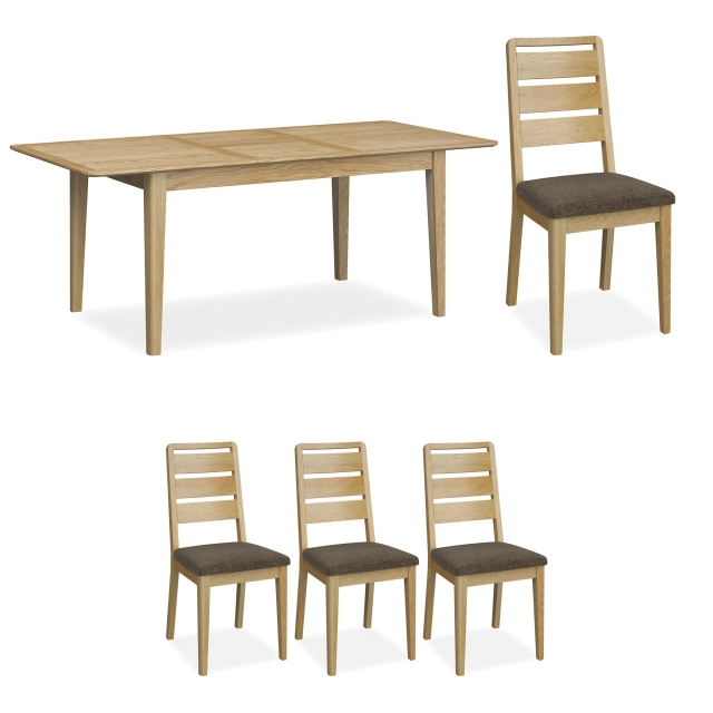 Kenwood - 150cm Small Extending Dining Table With 4 Ladder Back Dining Chairs