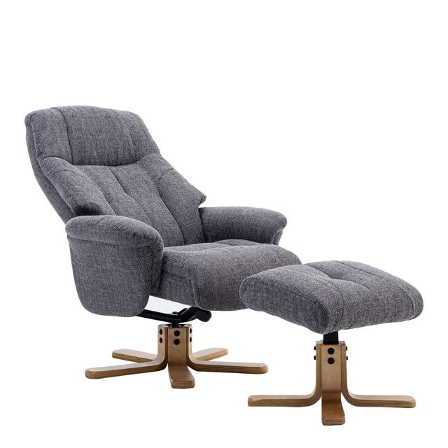 Quebec - Swivel Chair And Stool In Lisbon Grey Fabric