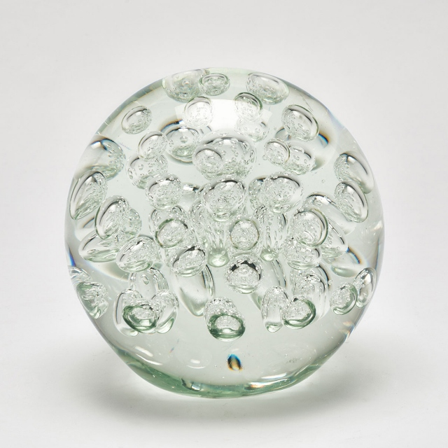 Bubbles Glass Ball Paperweight - Clear