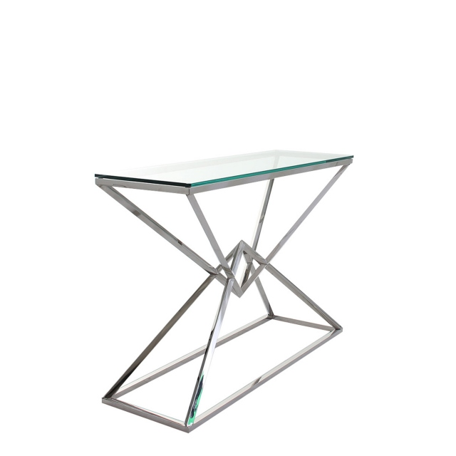 Rhombus - Console Table With Clear Glass Top Stainless Steel Frame