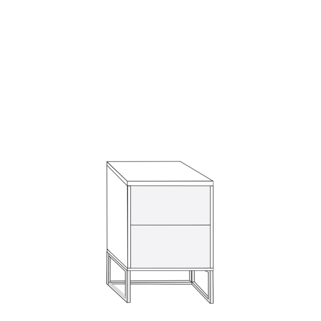 Coruna - 40cm 2 Drawer Bedside Cabinet 47cm High With Havana Glass Drawers