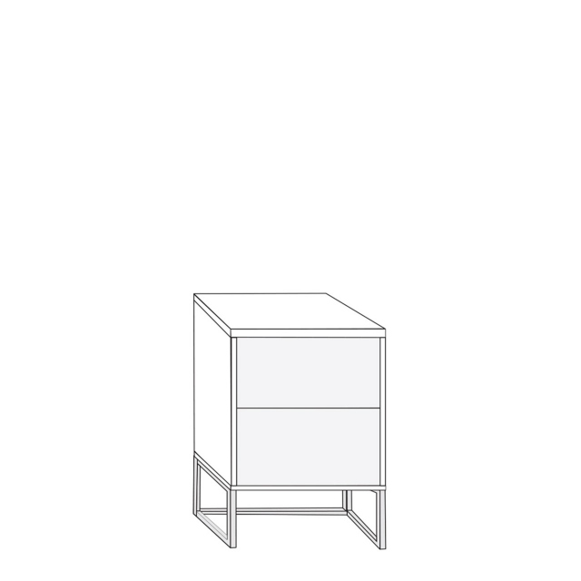 Coruna - 40cm 2 Drawer Bedside Cabinet 56cm High With Havana Glass Drawers