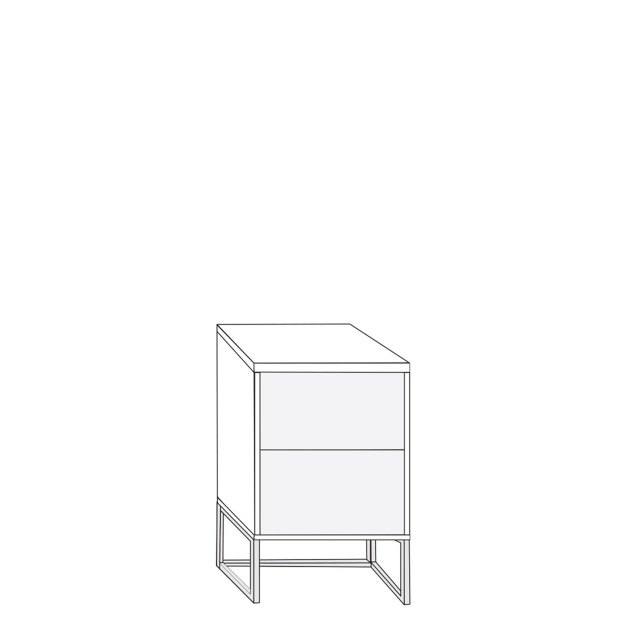 Coruna - 40cm 2 Drawer Bedside Cabinet 61cm High With Havana Glass Drawers