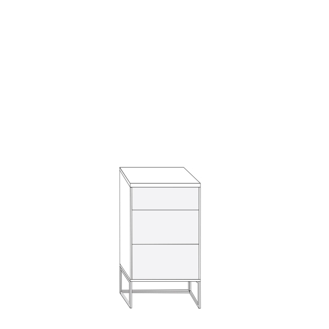 Coruna - 40cm 3 Drawer Bedside Cabinet 67cm High With Havana Glass Drawers