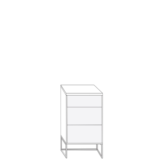 Coruna - 40cm 3 Drawer Bedside Cabinet 71cm High With Havana Glass Drawers