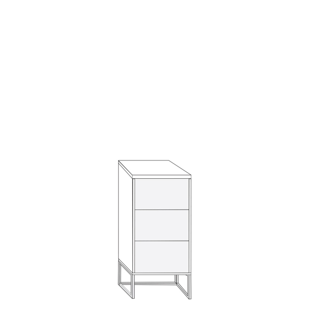 Coruna - 40cm 3 Drawer Bedside Cabinet 81cm High With White Glass Drawers