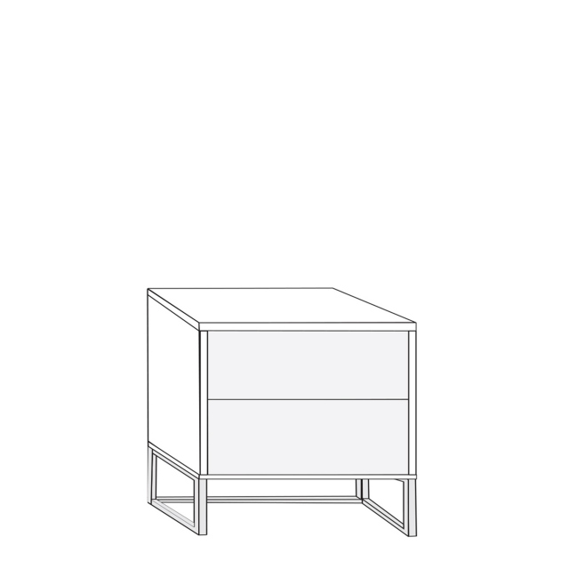 Coruna - 60cm 2 Drawer Bedside Cabinet 47cm High With Havana Glass Drawers