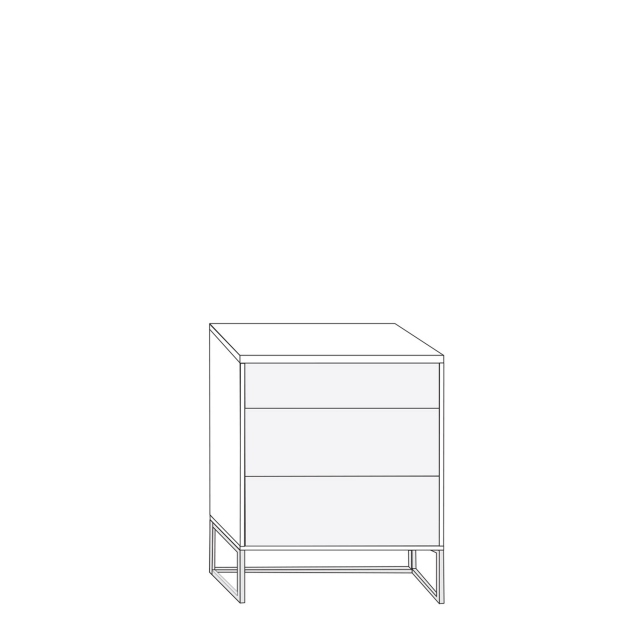 Coruna - 60cm 3 Drawer Bedside Cabinet 67cm High With Havana Glass Drawers