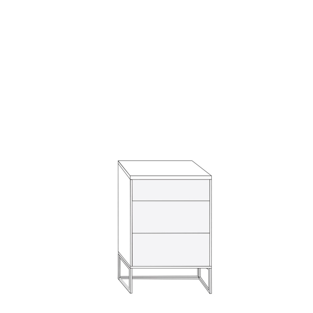 Coruna - 60cm 3 Drawer Bedside Cabinet 81cm High With Havana Glass Drawers