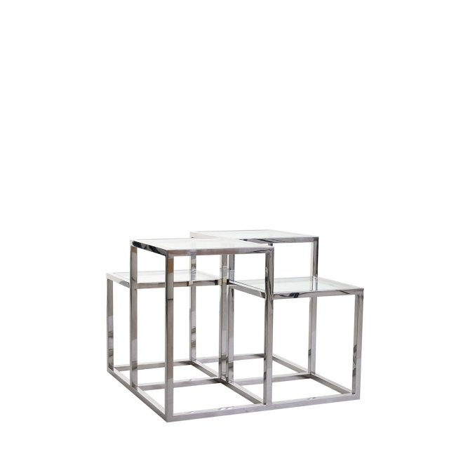 Gable - Side Table In Silver Stainless Steel