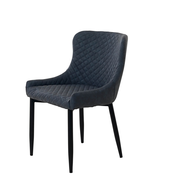 Copeland - Dining Chair Grey PU With Black Metal legs