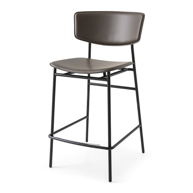 Calligaris Fifties - CS/1864-LH Barstool Matt Black Frame Seat Cover Mud Brown Leather