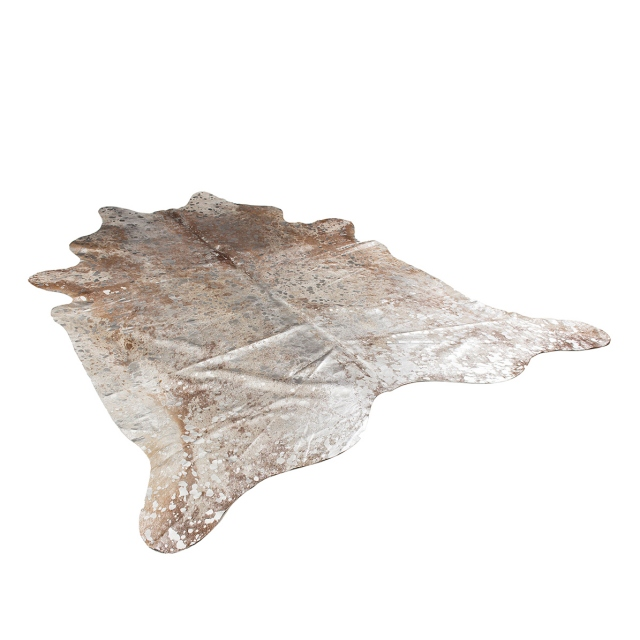 Cowhide Rug Silver / Brown Metallic