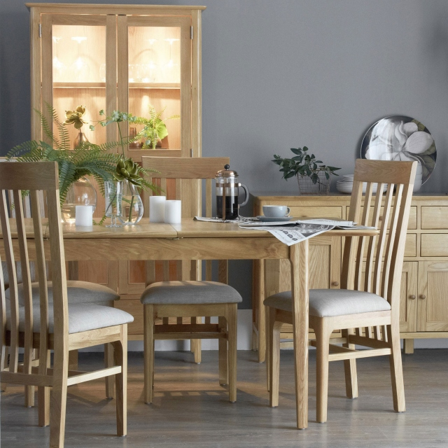 Suffolk - 120cm Ext Table & 4 Slat Back Chairs Oak Finish