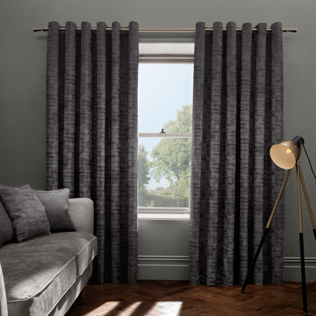Naples Smoke Pair of Eyelet Curtains