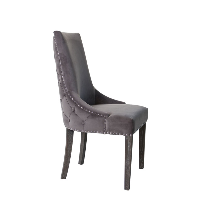 Kentucky - Dining Chair In HCF-13 Grey With Silver Studs