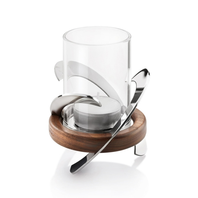 Robert Welch Helix Tealight Holder - Stainless Steel/Wood