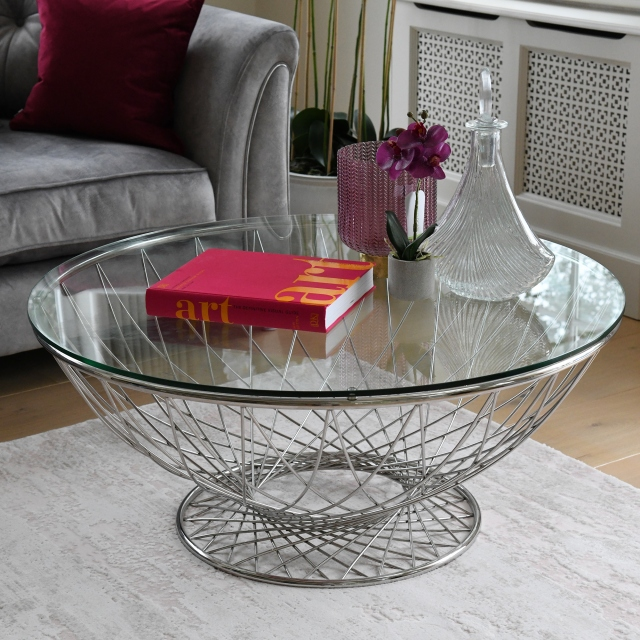 Greco - Coffee Table With Clear Toughened Glass Top & Stainless Steel Base