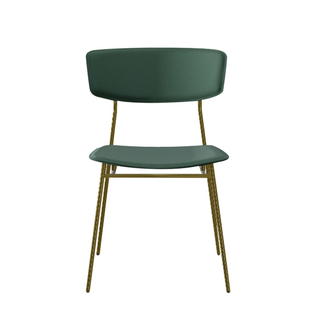 Calligaris Fifties - Dining Chair in S0H Venice Forest Green with P15 Matt Black Legs
