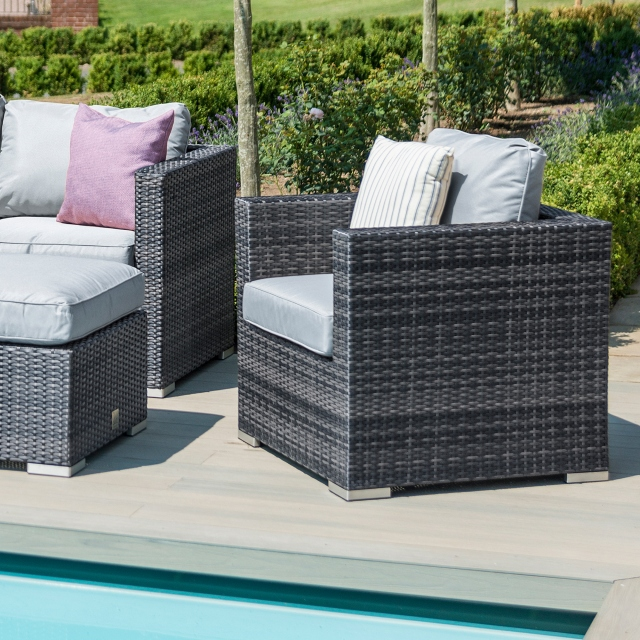 Cocoa Beach - 2 Seat Sofa Set with Ice Bucket In Grey Rattan
