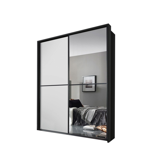 Ottawa - 181cm 1 Mirror Sliding Door Wardrobe A860D Metalic Grey Carcase White Glass Horizontal Trim