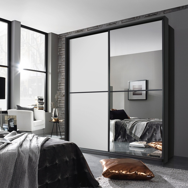 Ottawa - 226cm 1 Mirror Sliding Door Wardrobe A860D Metalic Grey Carcase White Glass Horizontal Trim