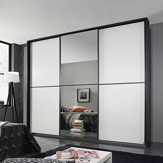 Ottawa - 271cm 1 Mirror Sliding Door Wardrobe A860D Metalic Grey Carcase White Glass Horizontal Trim