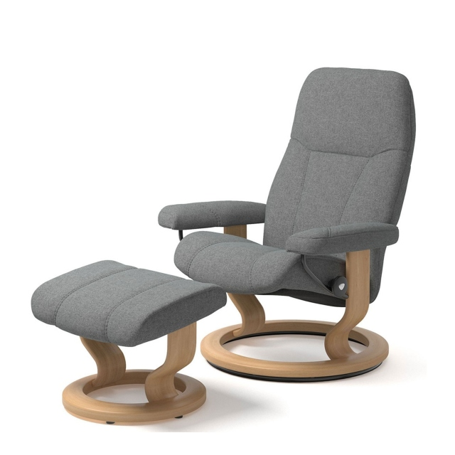 Stressless Consul - Chair & Stool Signature Base Group 5 Fabric