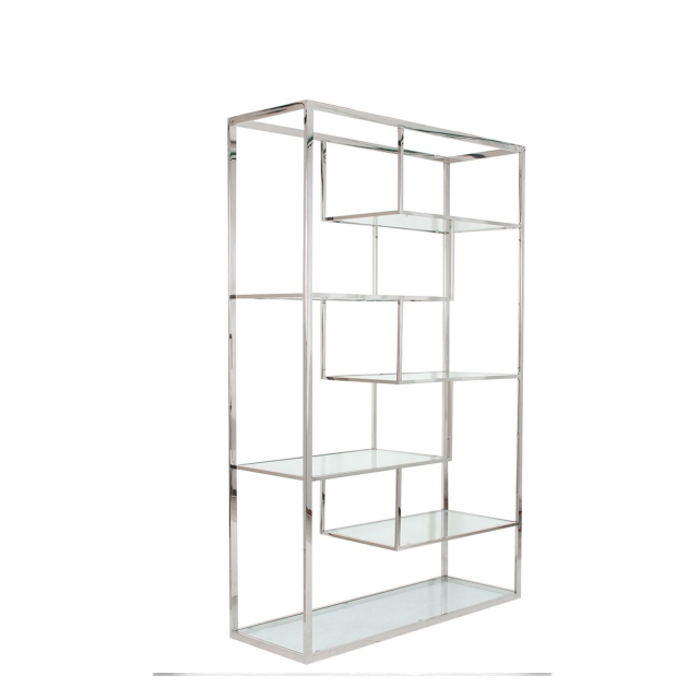 Rhombus - Display Unit With Clear Glass Top Stainless Steel Frame