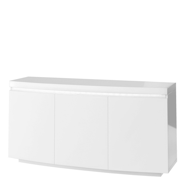 Parini - Curved Sideboard In White High Gloss With Light