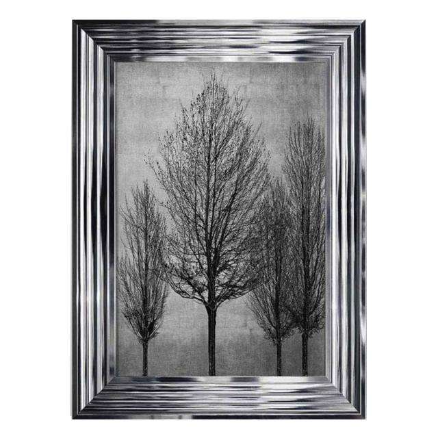 Trees on Silver 2 Chrome Stepped Frame 55x75cm