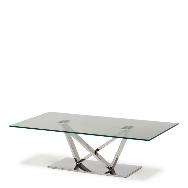 Sirocco - Coffee Table With Clear Toughened Glass Top & Stainless Steel Frame