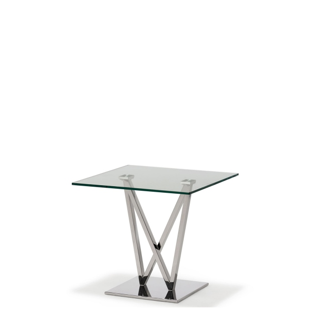 Sirocco - Lamp Table With Clear Toughened Glass Top & Stainless Steel Frame