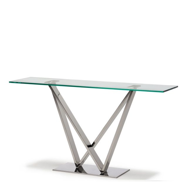 Sirocco - Console Table With Clear Toughened Glass Top & Stainless Steel Frame