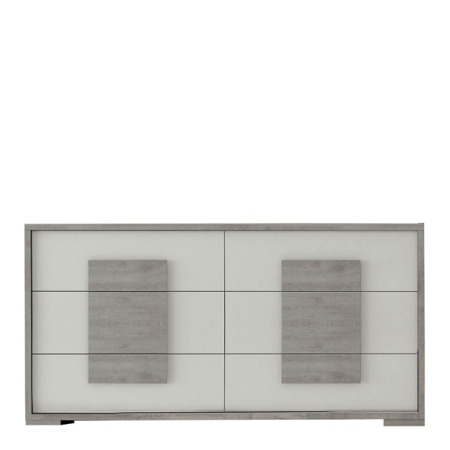 Amelia - Large Chest of 6 Drawers Titanio/Silver Ash