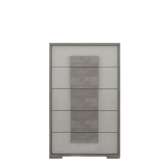 Amelia - Tall Chest of 5 Drawers Titanio/Silver Ash