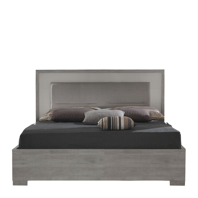 Amelia - 150cm Wooden Bed Frame Titanio/Silver Ash with Slats