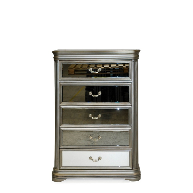 Tall 5 Drawer Chest Eucalyptus With Mirror Front - Royale