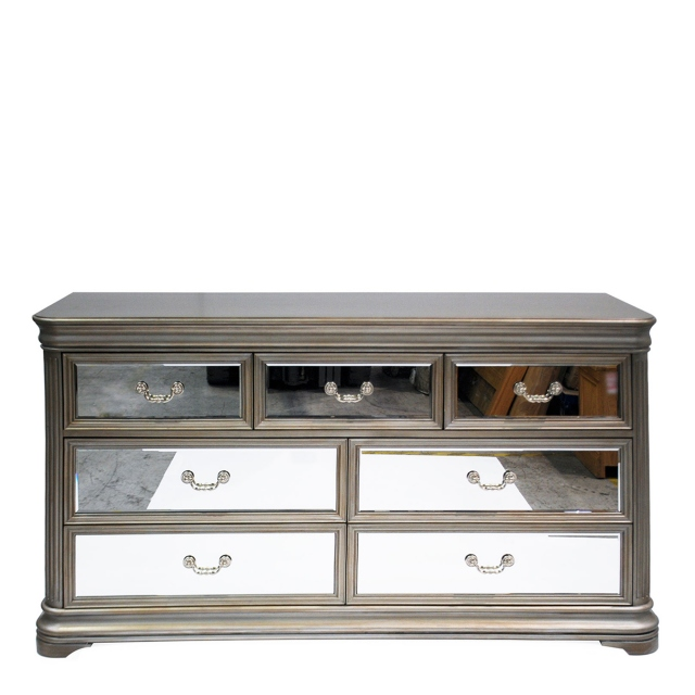 Royale - Wide 7 Drawer Chest Eucalyptus With Mirror Front