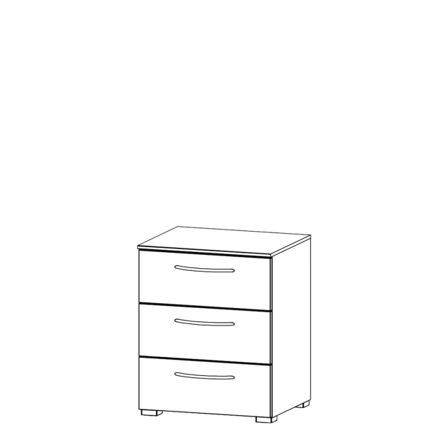Charlton - 50cm 3 Drawer Bedside Table High Polish Front