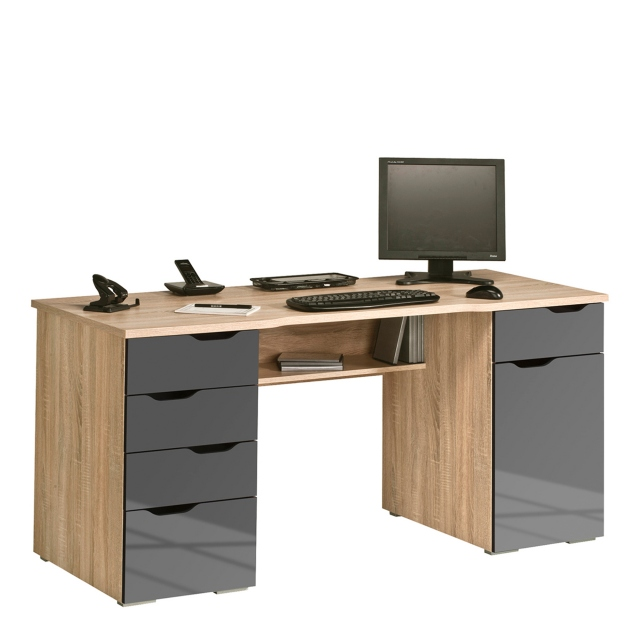 Capella - 160cm Desk - Sonoma Oak/Grey High Gloss