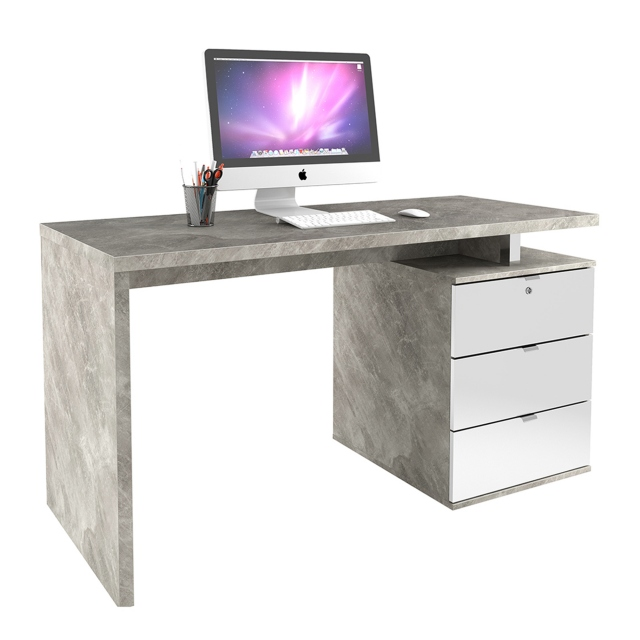 Polaris - 140cm Desk - Concrete Effect/White High Gloss