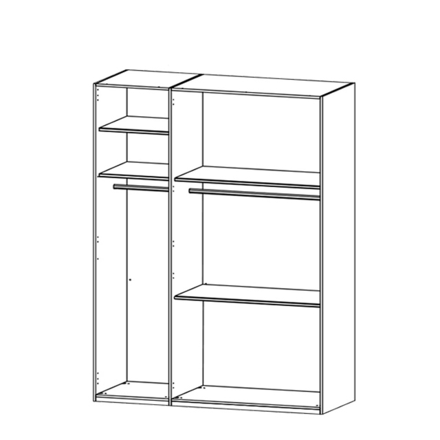 Nova  - 151cm 3 Door/3 Drawer Wardrobe With Mirrored Glass Front