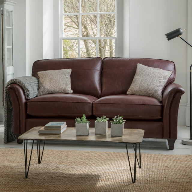 Parker Knoll Devonshire - Formal Back Large 2 Seat Sofa In Leather