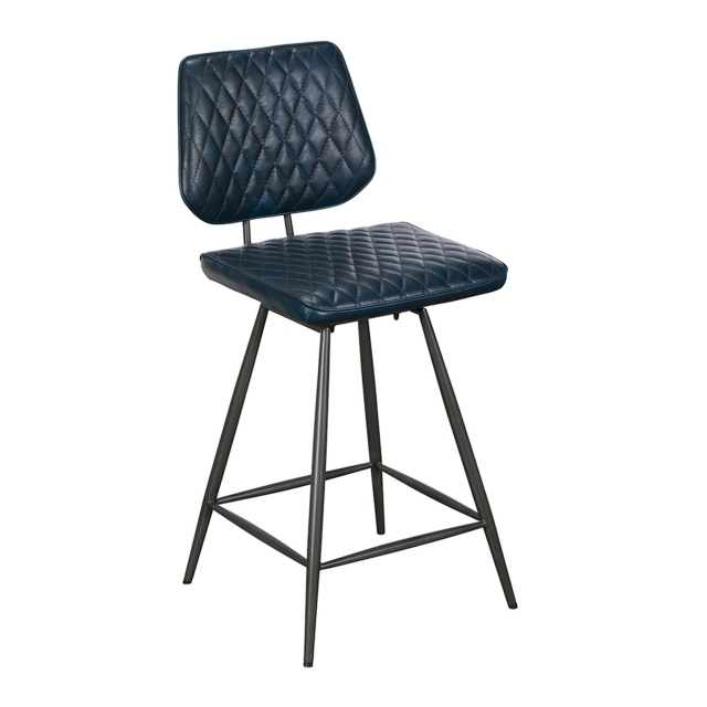 Downtown - Bar Stool In Dark Blue PU Leather
