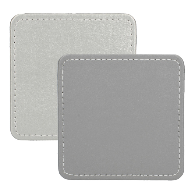 Faux Leather Silver Coasters Set Of 4
