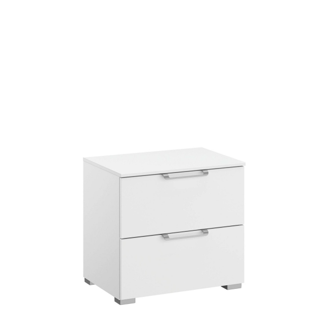 Strada - 50cm 2 Drawer Bedside Table Colour Glass Front