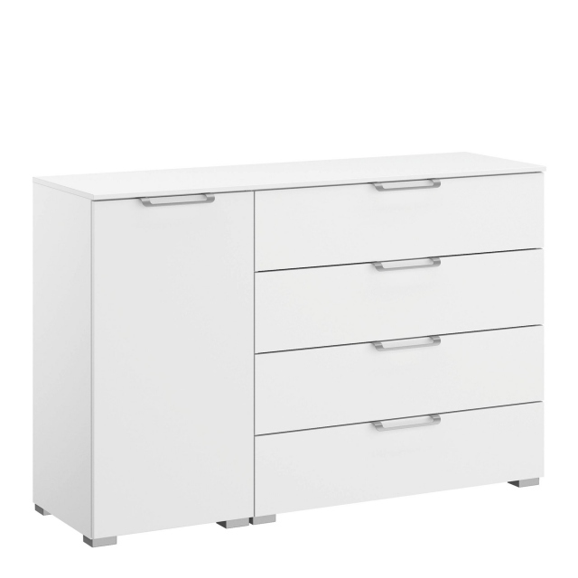 Strada - 120cm 1 LHF Door 4 Drawer Chest Colour Glass Front