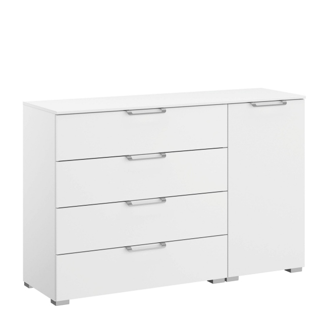 Strada - 120cm 1 RHF Door 4 Drawer Chest Colour Glass Front
